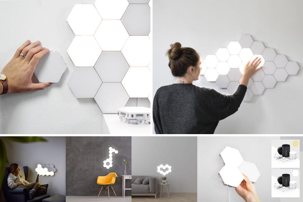 different patterns of hexagon touch lights