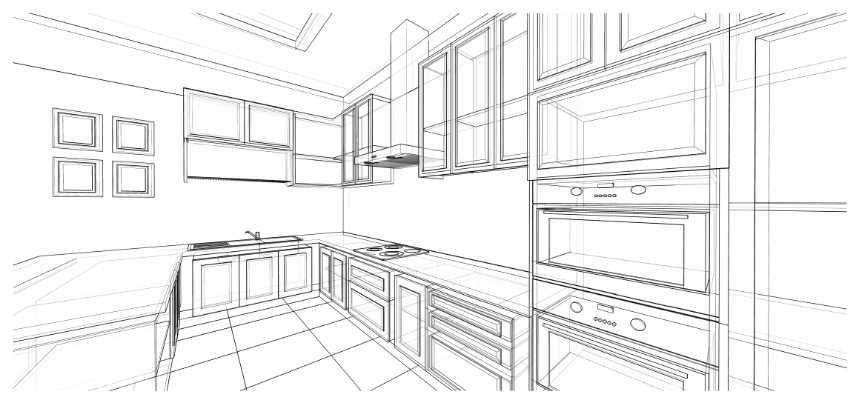 a sketch of a kitchen design