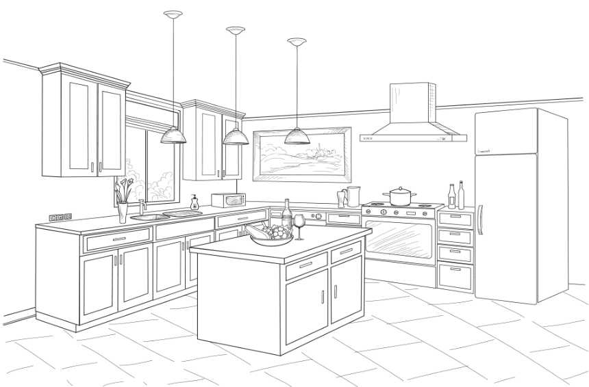 a drawing of a kitchen layout design