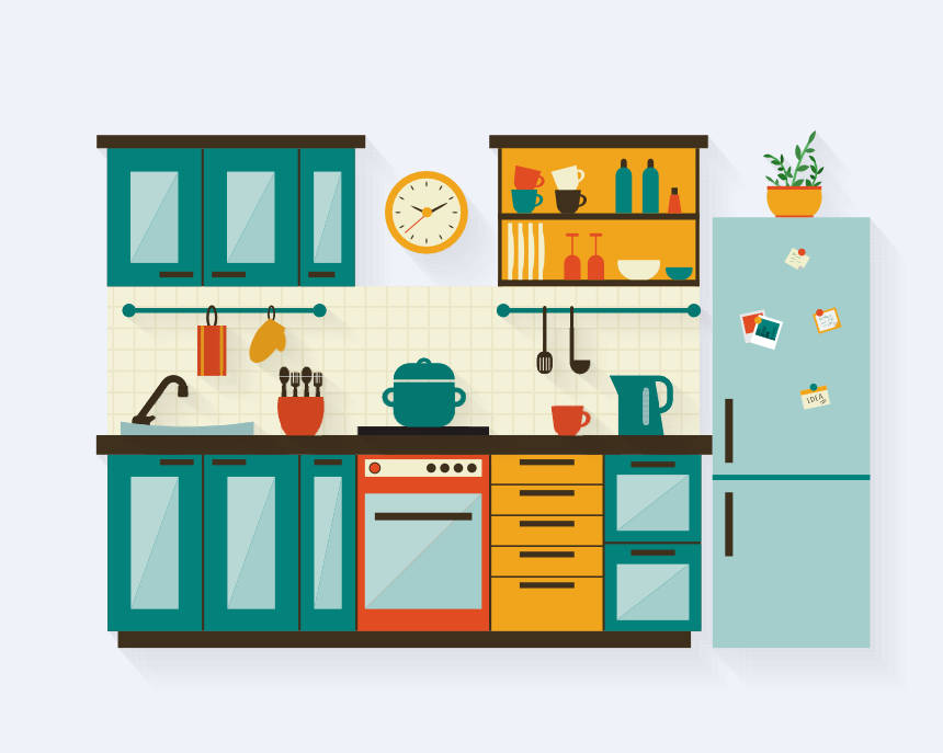 An illustration of a galley kitchen with everything easily accessible