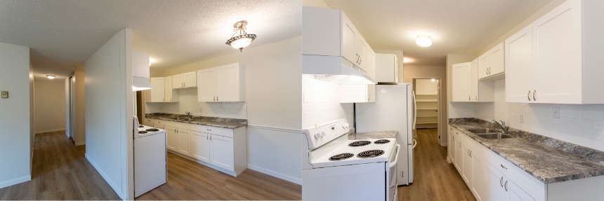 side by side photo comparison of the same small kitchen from two different angles