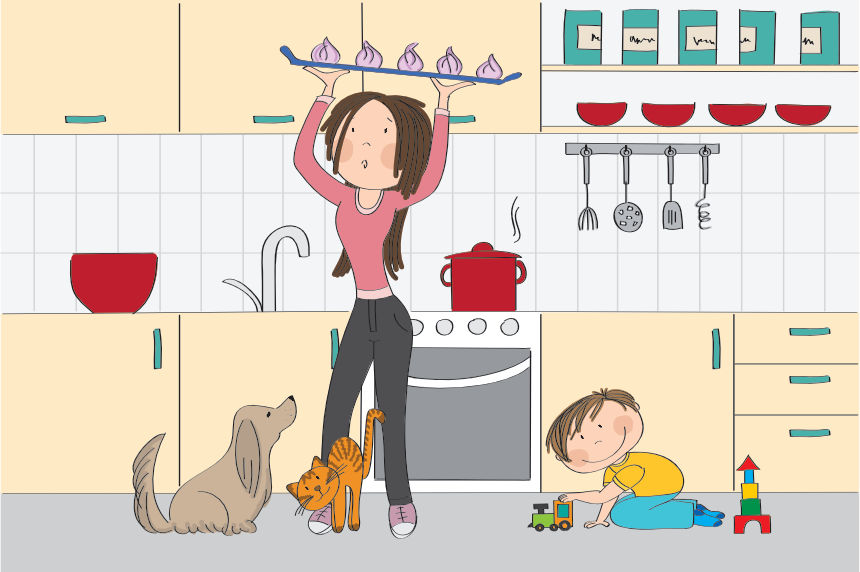 illustration of a mom carrying a tray above her head in a very small galley kitchen because kids and dog are on floor
