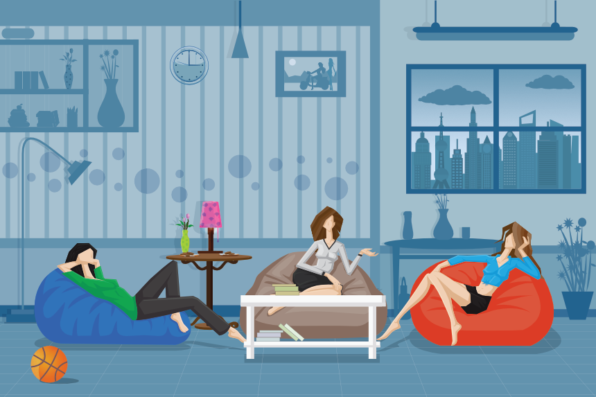 illustration of several women having social time at home