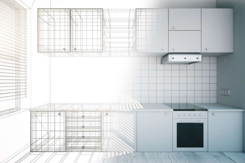 a half sketch and half 3d illustration of a galley kitchen against a wall