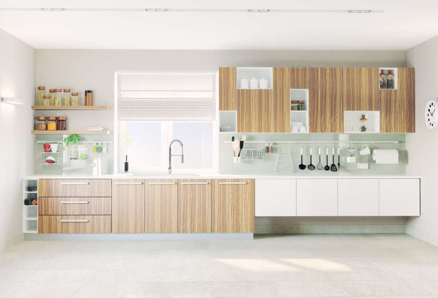 a 3d illustration of a modern galley kitchen along a straight wall