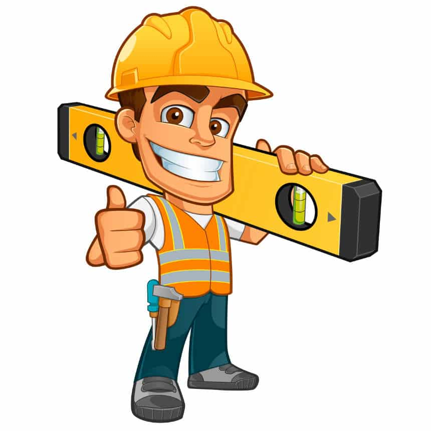 an illustration of a remodeling contractor holding a level